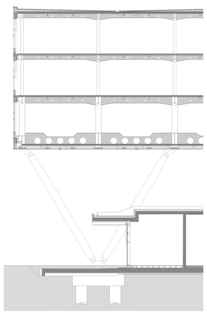 Teilschnitt durch die adidas Arena Herzogenaurach, Zeichnung: Werner Sobek Stuttgart