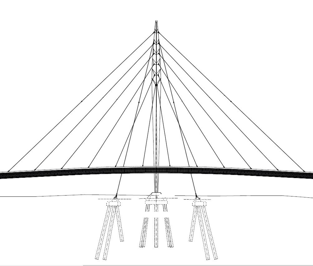 Seitensicht der Ortenau-Brücke in Lahr, Zeichnung: Henchion Reuter Architekten, Berlin